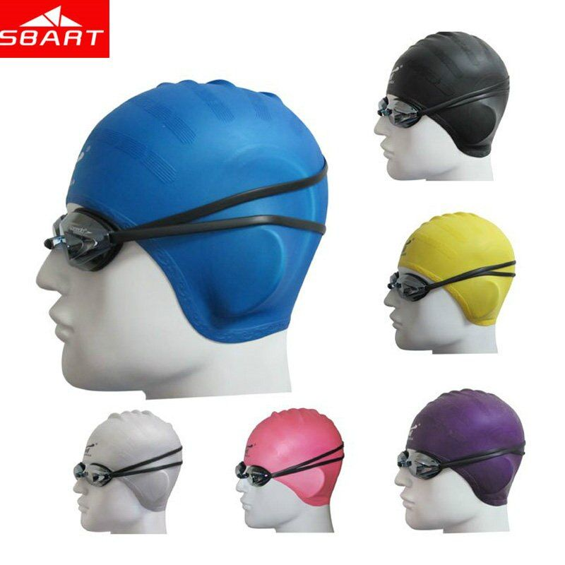 SBART Adults Elastic Waterproof Silicone Swimming Caps for Long Hair Ear Protect Muti Colors Swim Hat Man Women Large Size Hot I
