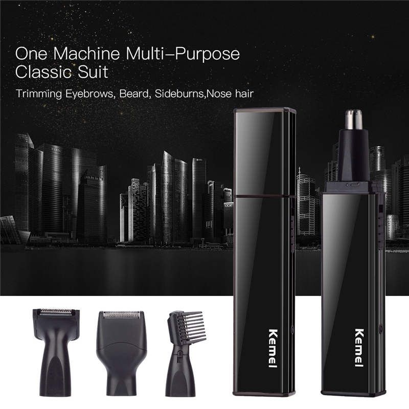 KEMEI 4 in 1 Rechargeable Shavers Nose Ear Hair Trimmer Beard Trimer for Men Eyebrow Sideburns Hair Removal Razor Cutter for Men