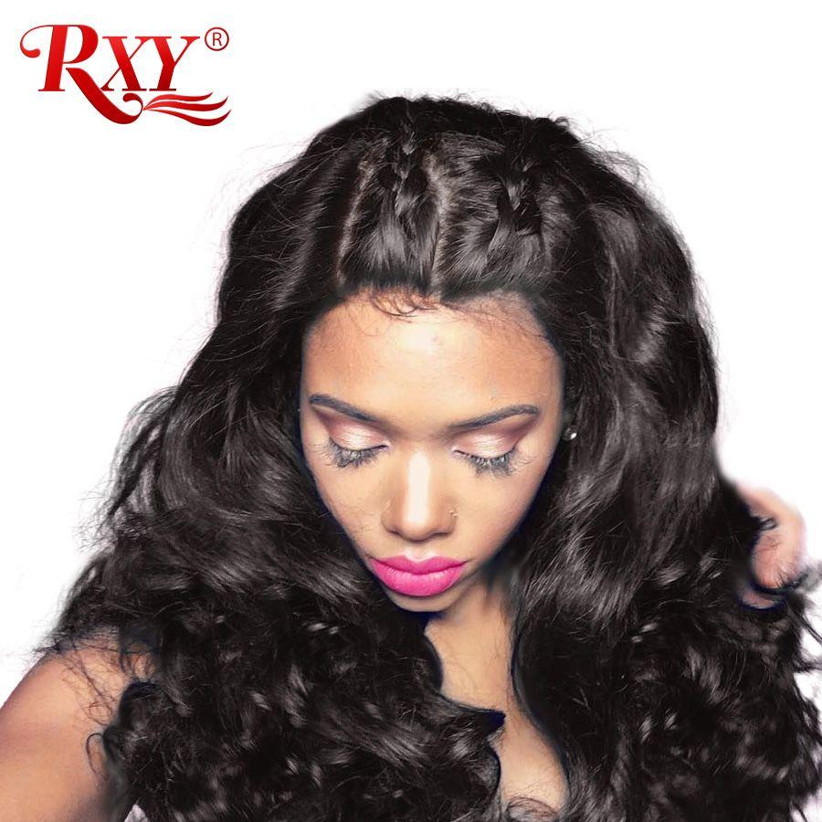 RXY Glueless Lace Front <font><b>Human</b></font> Hair Wigs For Women 150% Density Brazilian <font><b>Human</b></font> Hair Lace Front Wigs Body Wave Wig Black Non-Remy