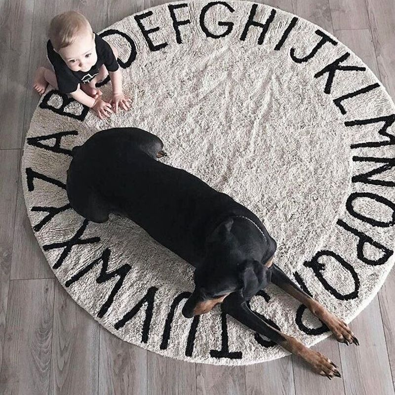 INS High Quality 100% cotton White Round ABC RUG And Pink Mat Letter Mat Play mat tapete carpet Children's Room home decoration