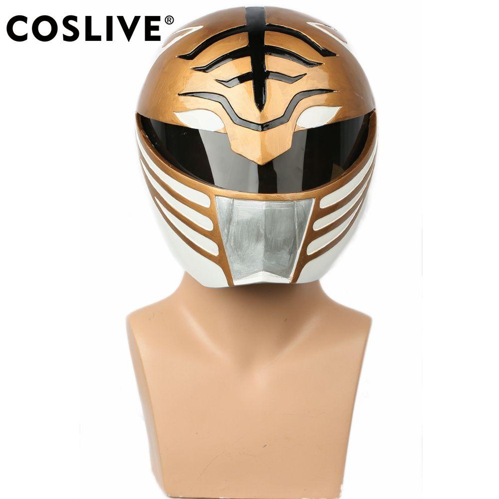 Coslive White Ranger Full Head Helmet Halloween Mask Cosplay Props Costume Accessory for Power Rangers