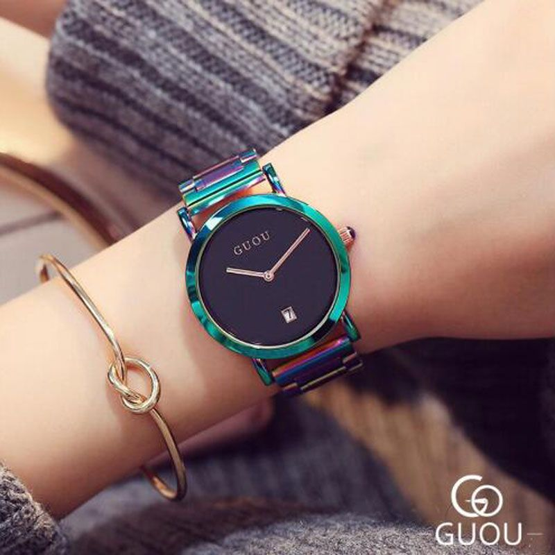 GUOU Watch Luxury Ladies Quartz Watch Fashion Colorful Full Steel Watch Women Auto Date Watch Clock relogio relojes mujer 2018