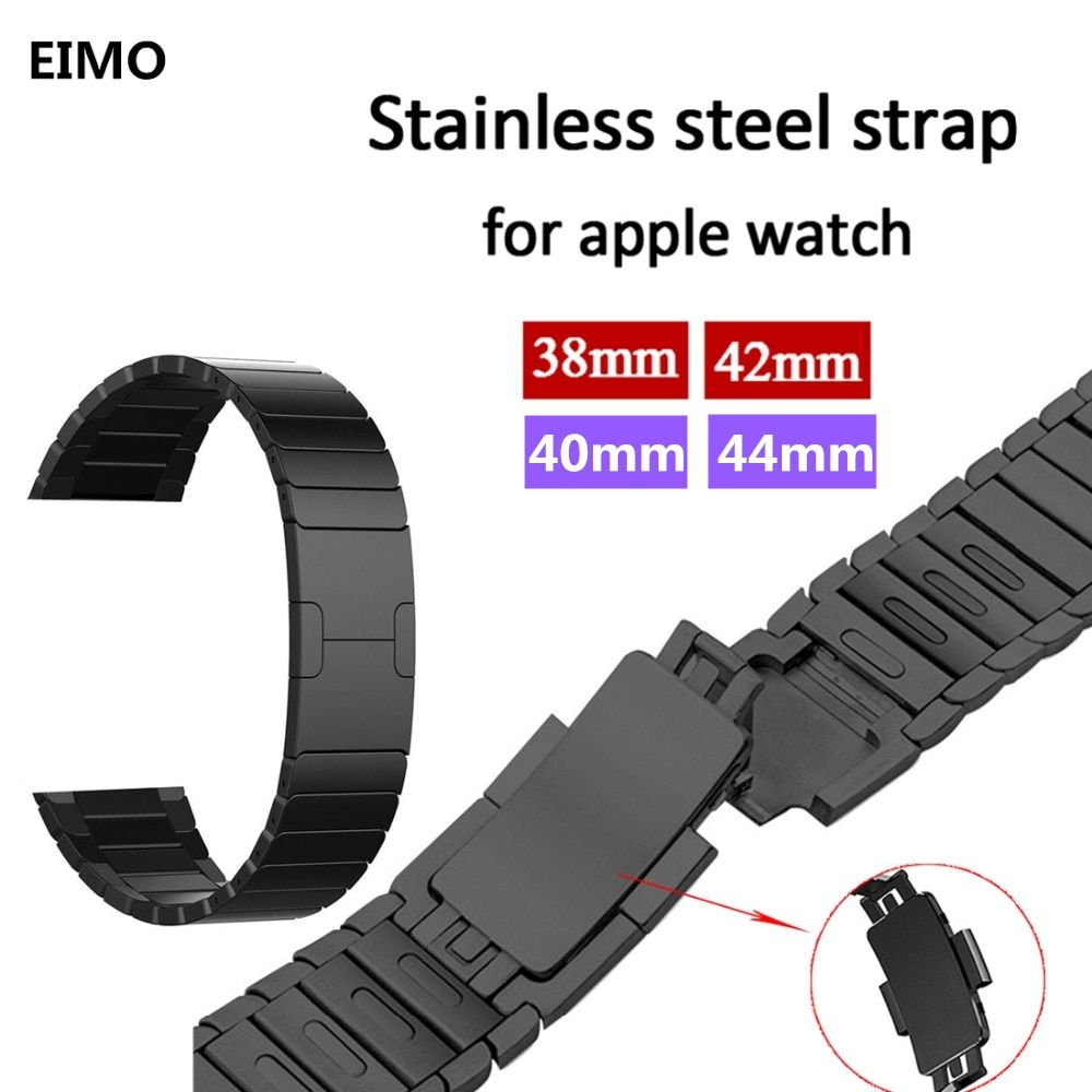 Link Bracelet Strap for Apple Watch 4/3/2/1 44mm 40mm band Stainless Steel metal buckle watchband iwatch series 42mm 38mm