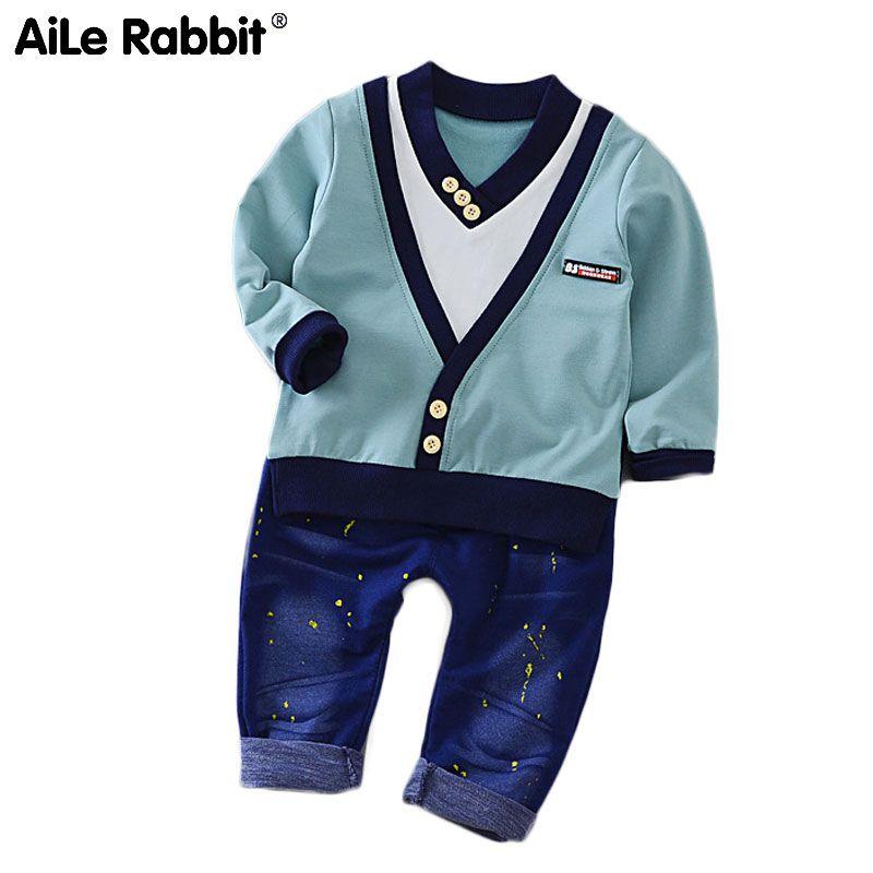 AiLe Rabbit 2018 nouveau garçon mode costumes T-shirt et pantalon 2 ensembles de vêtements pour enfants ensemble faux deux pièces v-cou Cowboy costume