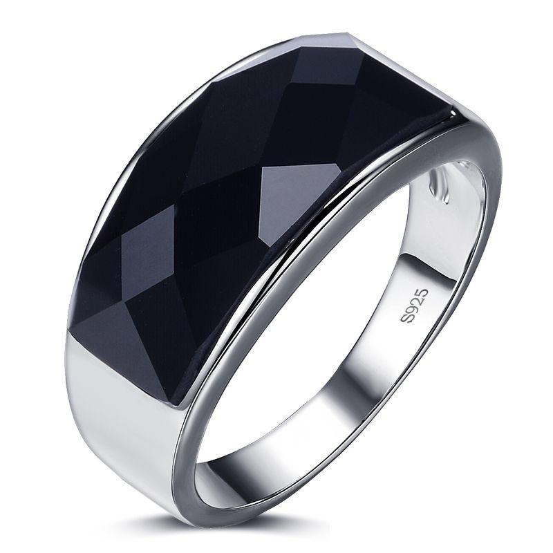 2017 recién llegado de alta calidad negro cristal 925 plata esterlina hombres dedo anillos hombres anillo de boda para hombre joyería venta al por mayor