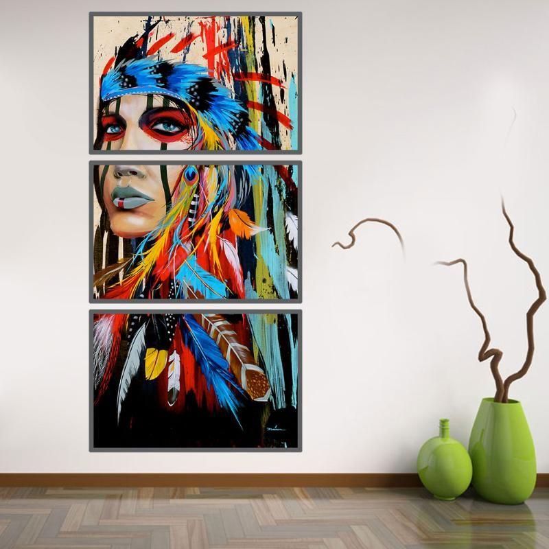 3 Pcs/ensemble Tribal Fille Impression Toile Peinture Sans Cadre Peinture Photos Wall Art Affiche Toile Peinture Pour La Décoration Intérieure