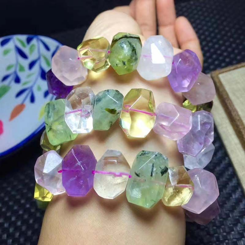amethyst/pink/prehnite/citrine quartz faceted 13*18mm baroque bracelet 7.5inch wholesale beads nature FPPJ gemstone