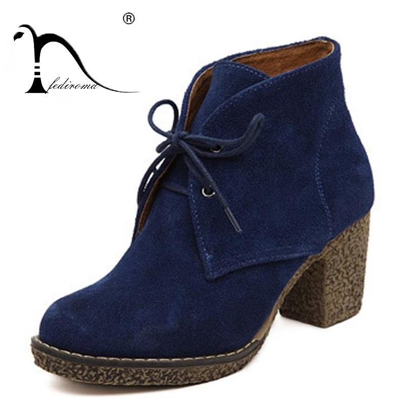 5 Colors Women Platform Ankle Boots Round Toe Lace-Up Winter Shoes Woman Genuine Leather Boots Ladies Autumn Boots Size 35-42