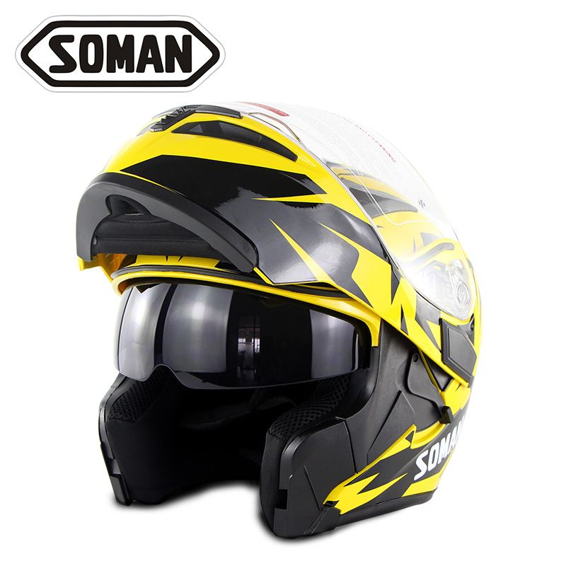 New Arrival DOT Approval Soman 955 SkyEye Street Motorcycle Double Lens Helmets Breathable Moto Bike Flip up Capacetes