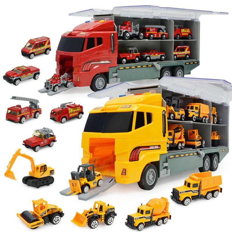 MylitDear 6 in 1 druckguss Legierung Construction Truck Vehicle Auto spielzeug Set Reibung Betrieben Spiel Fahrzeuge in Träger Lkw Kinder spielzeug