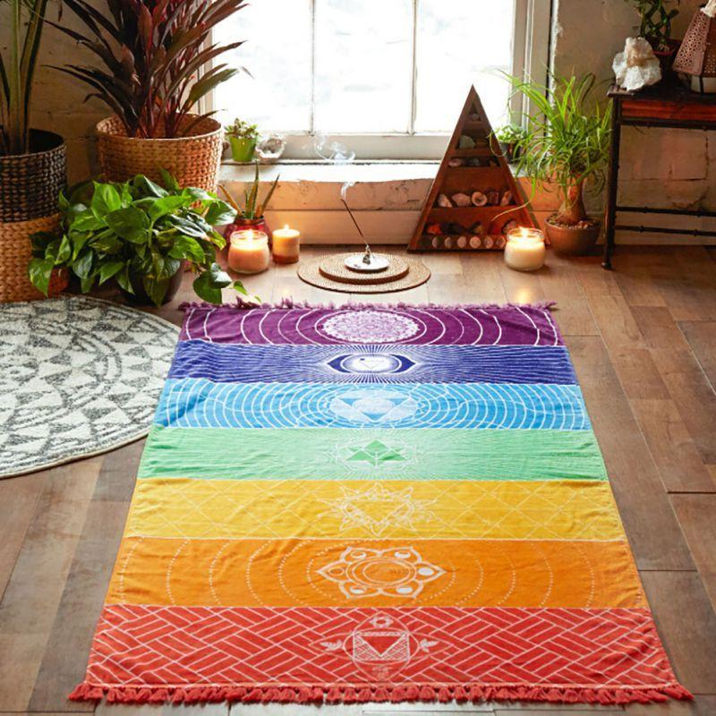Polyester Bohême Mûr Inde Mandala Couverture 7 Chakra De Tapisserie Rainbow Stripes Voyage D'été Plage Tapis De Yoga