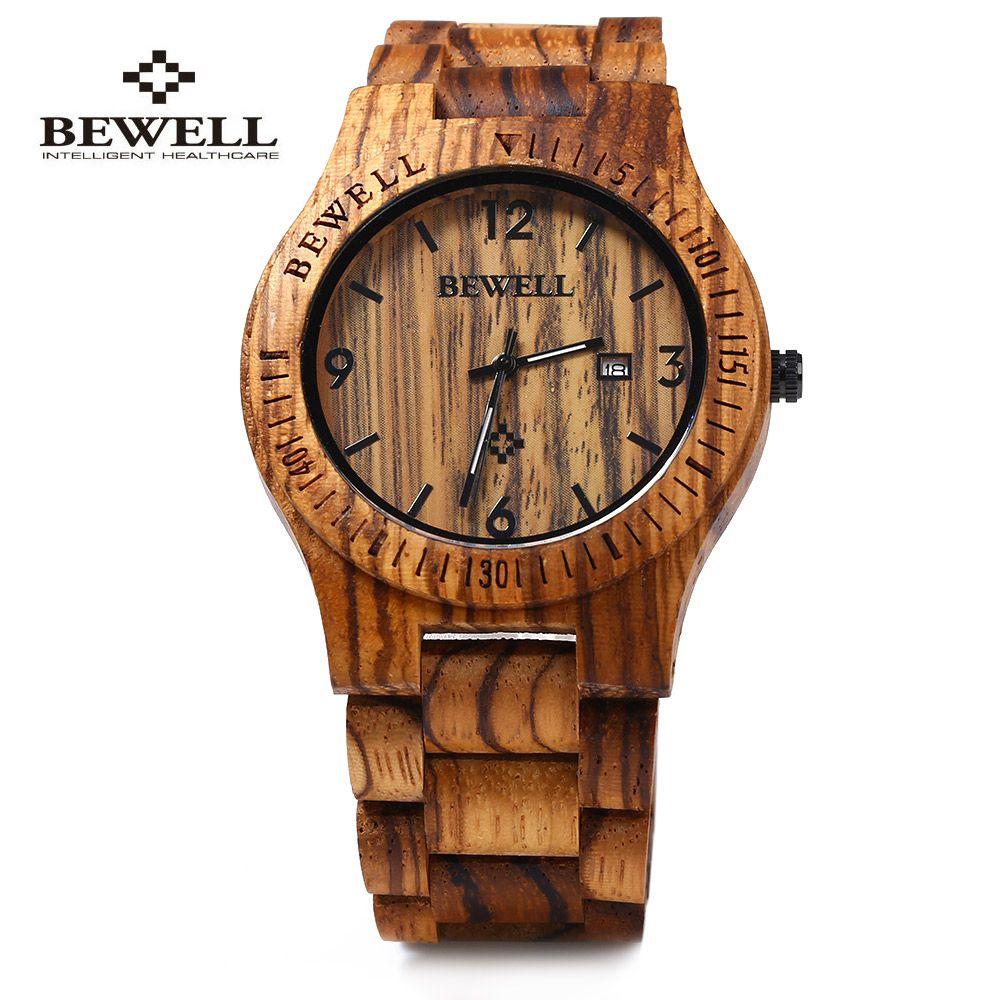 Bewell ZS-W086B Luxury Brand Wood Watch Men <font><b>Analog</b></font> Quartz Movement Date Waterproof Wooden Watches Male Wristwatches relogio