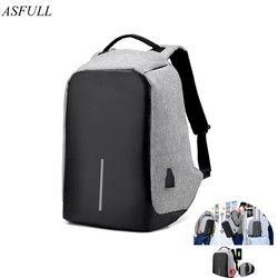 ASFULL USB carga Organizador antirrobo mochila de seguridad de viaje bolsas de escuela impermeables para la universidad mochila de ordenador portátil adolescente