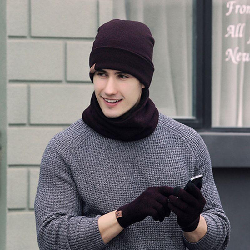 2017 Winter Scarf Hat Glove Sets Men Women Warm Thick Unisex Gloves Set Unisex Caps Scarves Sets Male Female 6 Colors F3