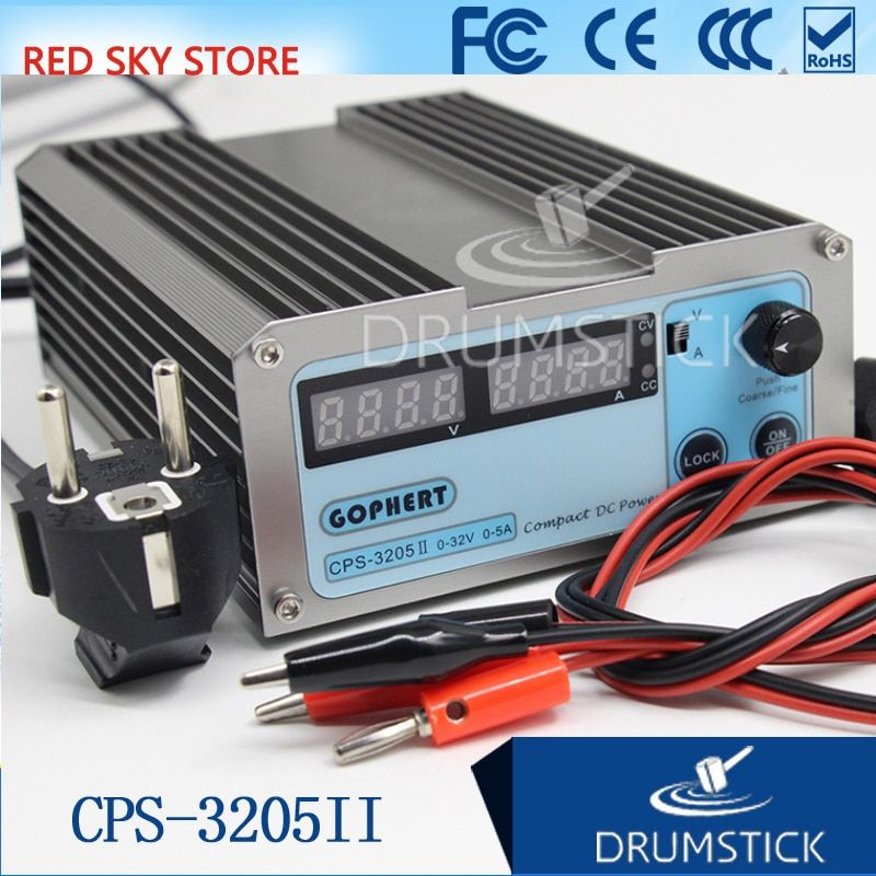 GOPHERT CPS-3205 II 0-30V-32V Adjustable DC Switching Power Supply 5A 160W SMPS Switchable AC 110V (95V-132V) / 220V (198V-264V)