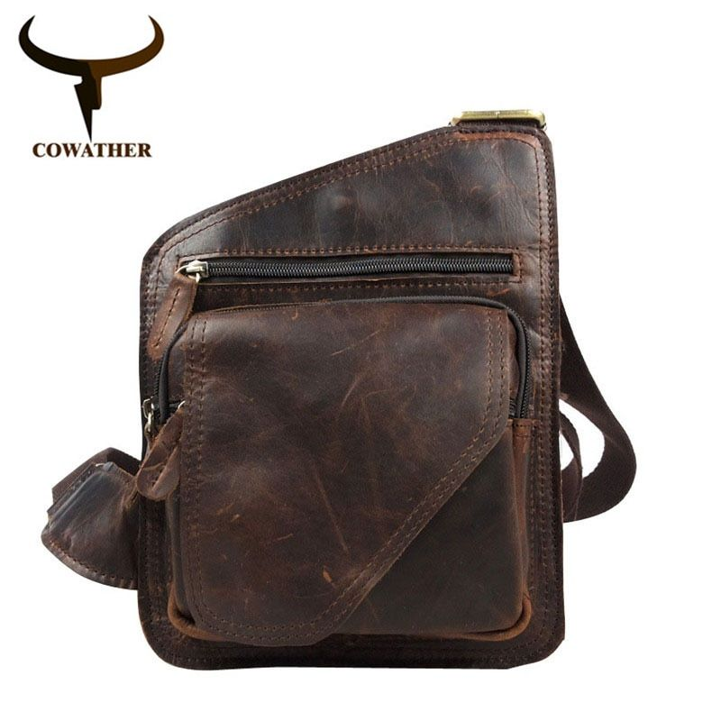 COWATHER men bags top cow genuine leather bag versatile casual shoulder men messenger bags for men soild and zipper