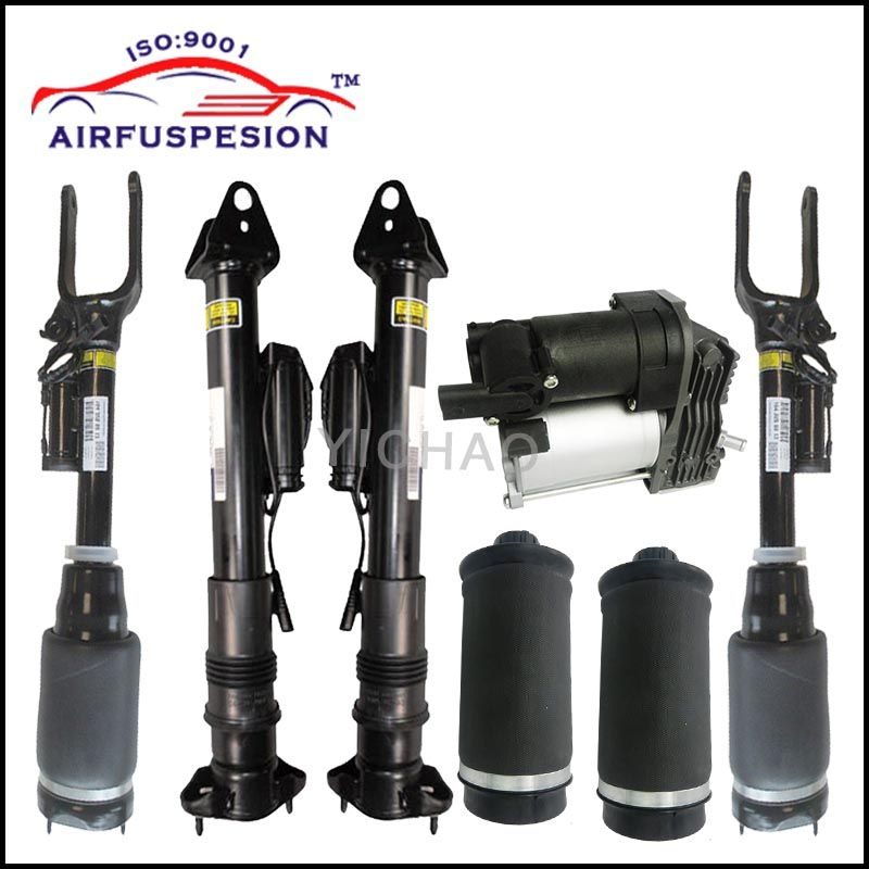 1 set Air Suspension Shock Absorber with ADS and air spring bags for Mercedes W164 X164 / ML-Class air compressor pump