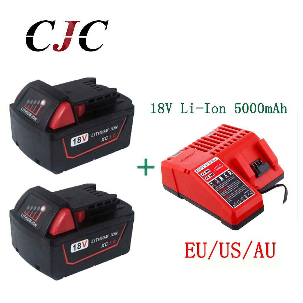 2PCS 5000mAh 18V Li-Ion Replacement Battery for Milwaukee XC 48-11-1815 With Charger