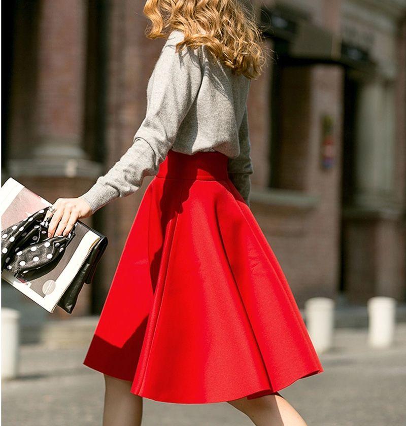 Femininas mode élégant solide longues jupes 2018 Style de rue automne femmes solide décontracté taille haute Vintage jupe mi-longue