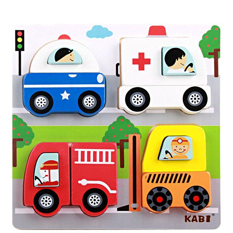 Livraison gratuite Enfants de bande dessinée Éducative solide en bois blocs insectes/transport/animaux Etc bloc de bois de construction jouet cadeau
