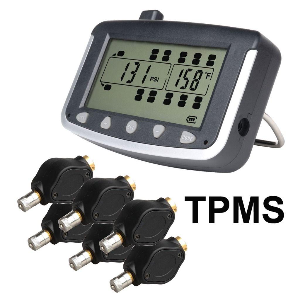 Tire Pressure Monitoring System Car TPMS with 6 pcs External Sensors Truck Trailer, RV, Bus, Miniature passenger car