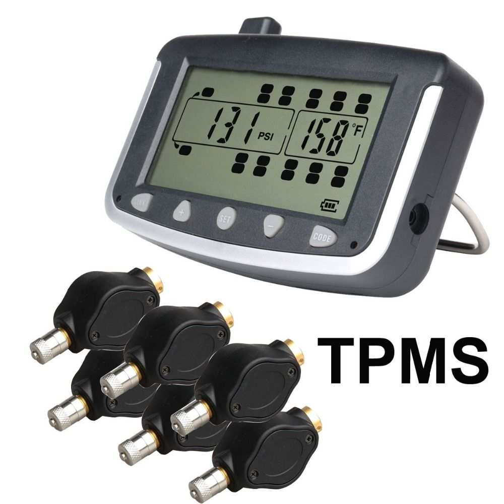 Tire Pressure Monitoring System Car TPMS with 6 pcs External Sensors Truck Trailer, RV, Bus, Miniature passenger car