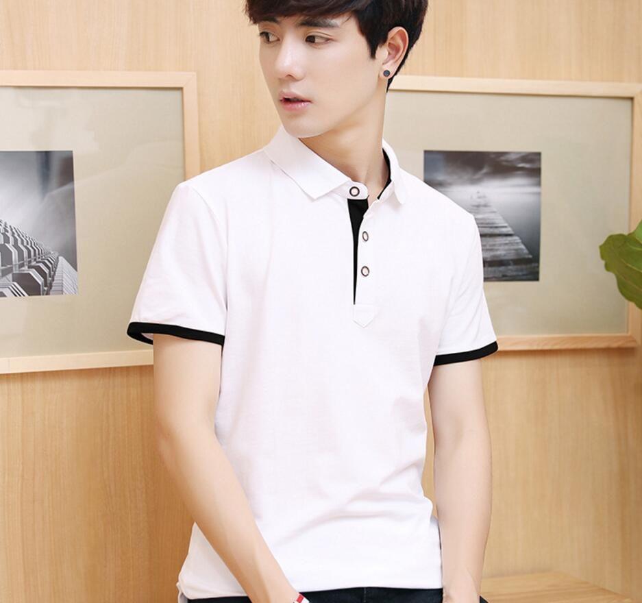 2018 Été nouveau style top qualité Hommes Cofortable coton turn-down col À manches Courtes T-Shirt HA01-HA13