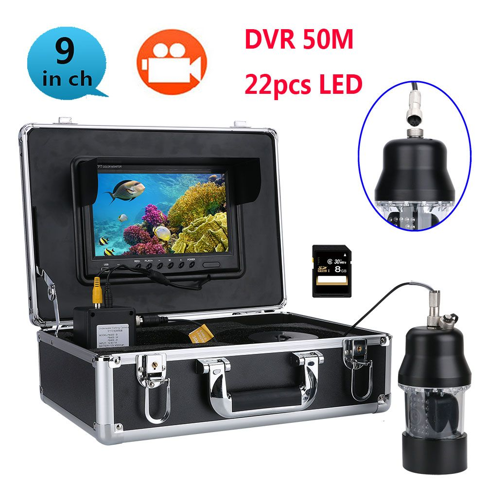 100m 50m 20m DVR Underwater Fishing Video Camera Fish Finder 9 Inch DVR Recorder Color Screen Waterproof 22 LEDs 360 Degree