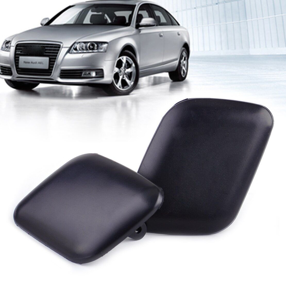 DWCX 1Pair Front Left & Right Bumper Headlight Washer Cover Cap 4B0 955 275 4B0 955 276 for Audi A6 C5 1998 1999 2000 2001 2002