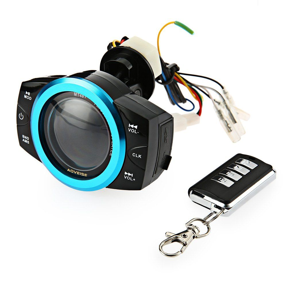 Motorcycle Audio Player Music Alarm Sound MP3 Remoter Multiangular Adjusting Holder AOVEISE MT481 Fashionable Streamlined Design