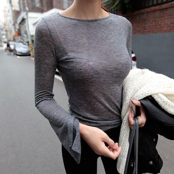 Сексуальная О-образным вырезом трикотажная футболка Для женщин модные женские футболки женский длинный рукав длинный топы; футболка Femme