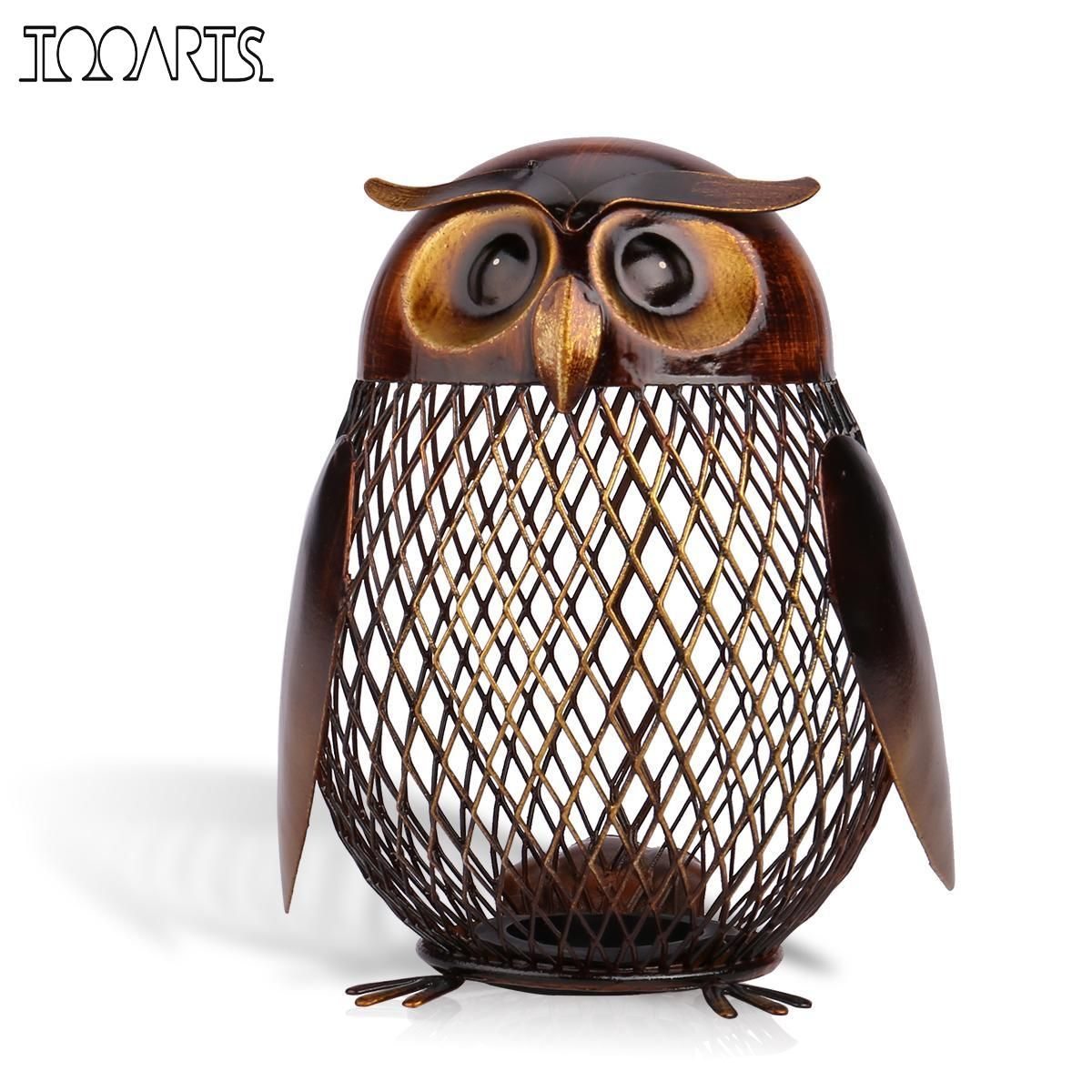 Tooarts New Year Gift Money Box Owl Shaped Metal Piggy Coin Bank Money Saving Box Home Decor Figurines Craft Gift For Kids