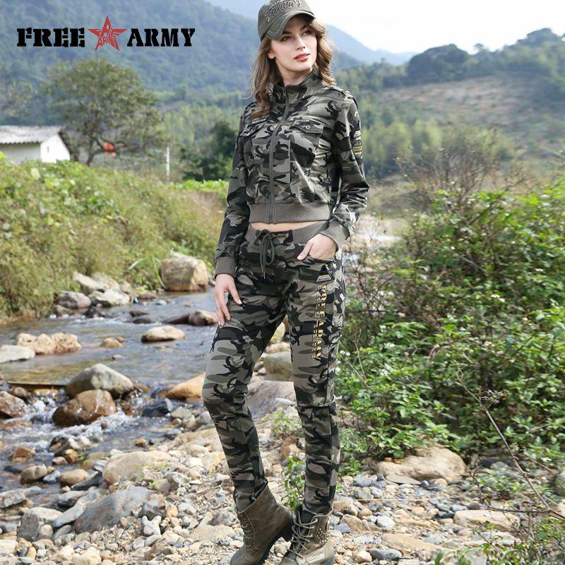 FREEARMY marque femmes ensembles Camouflage 2 pièce Sweat costume ensemble pantalon + veste courte Slim femmes vêtements femme survêtement ensemble