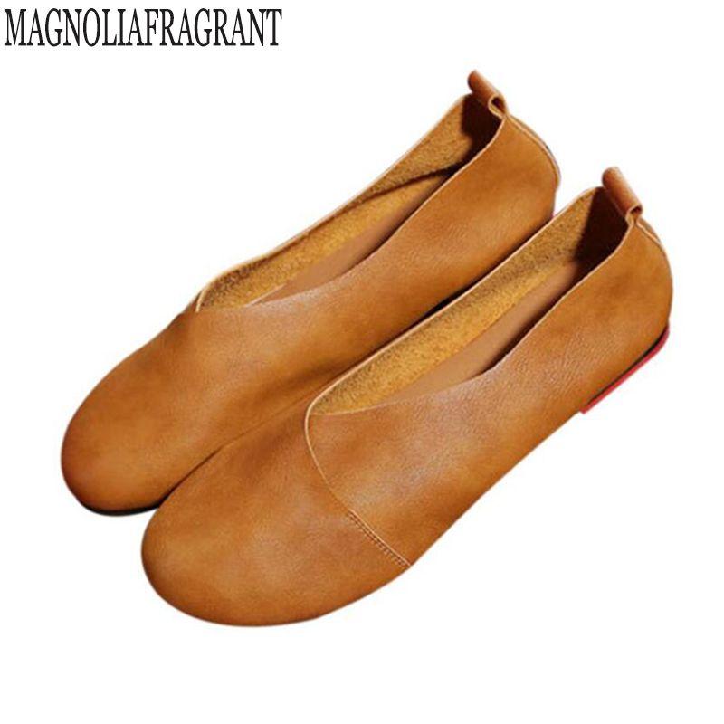 2018 Vintage Art handmade shoes Microfiber Leather Flats Women Shoes Shallow mouth Casual Fashion Women Shoes Plus Size 41-43 f8