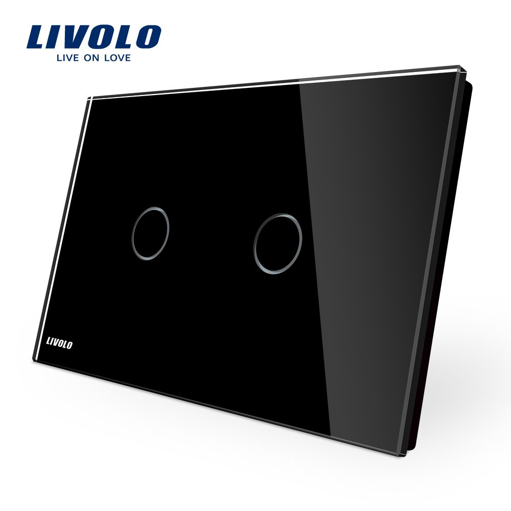LIVOLO AU/US standard Wall Switch,VL-C902-12, Black Glass Panel, AC 110~250V, LED indicator, 2-gang Touch Control Light Switch