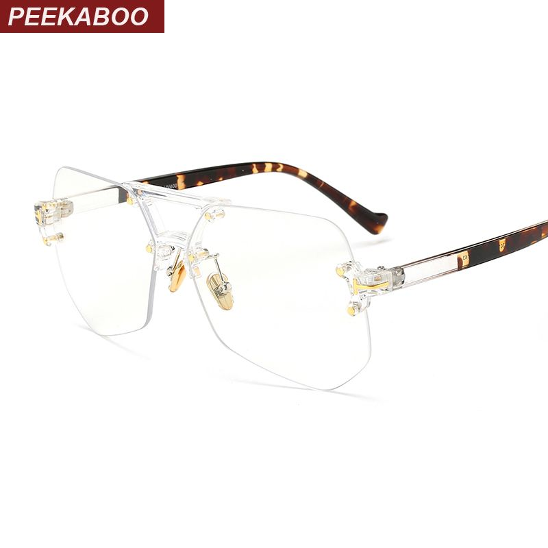 Peekaboo fashion clear transparent glasses frames for women men 2019 male spectacle frames rimless irregular
