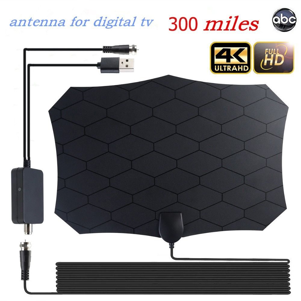 Indoor outdoor 300 Miles High Gain 4K HD TV Antenna For Digital TV With Amplifier Antennas DVB-T/DVB-T2 Grid satellite TV Aerial