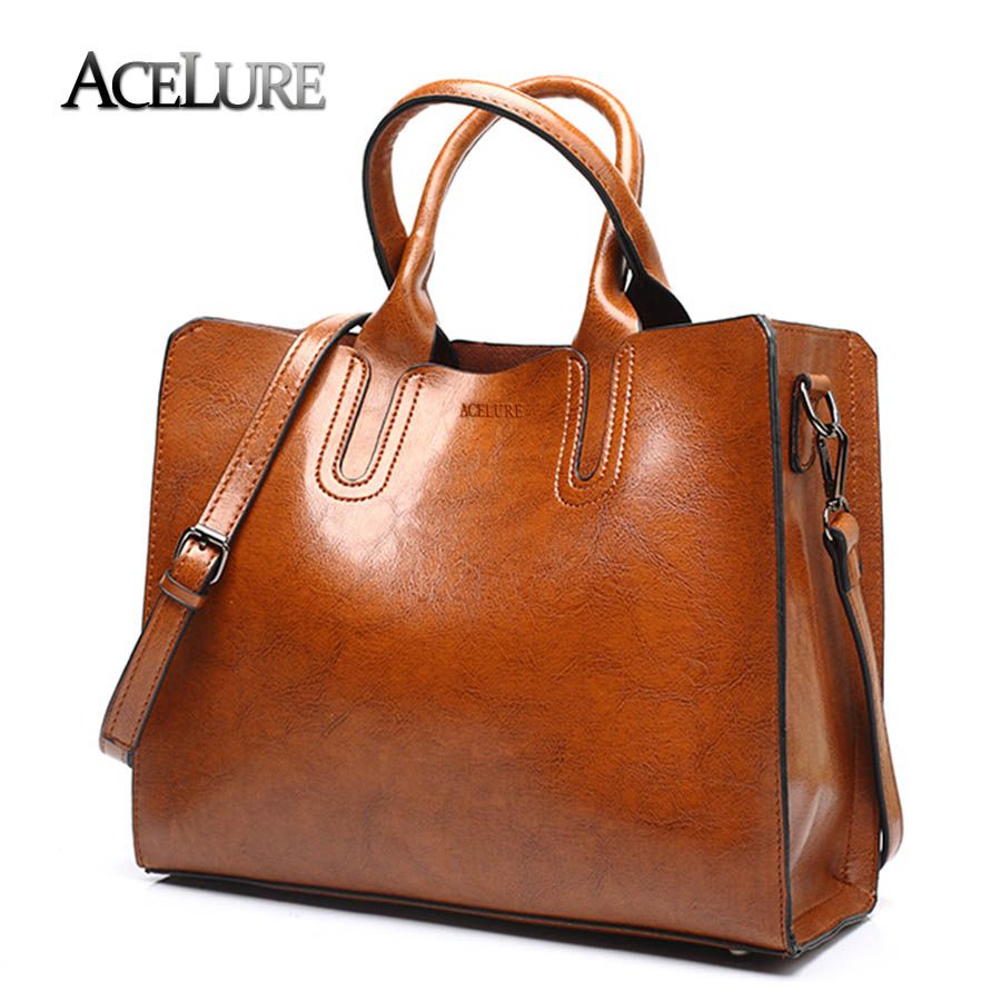 ACELURE Leather <font><b>Handbags</b></font> Big Women Bag High Quality Casual Female Bags Trunk Tote Spanish Brand Shoulder Bag Ladies Large Bolsos