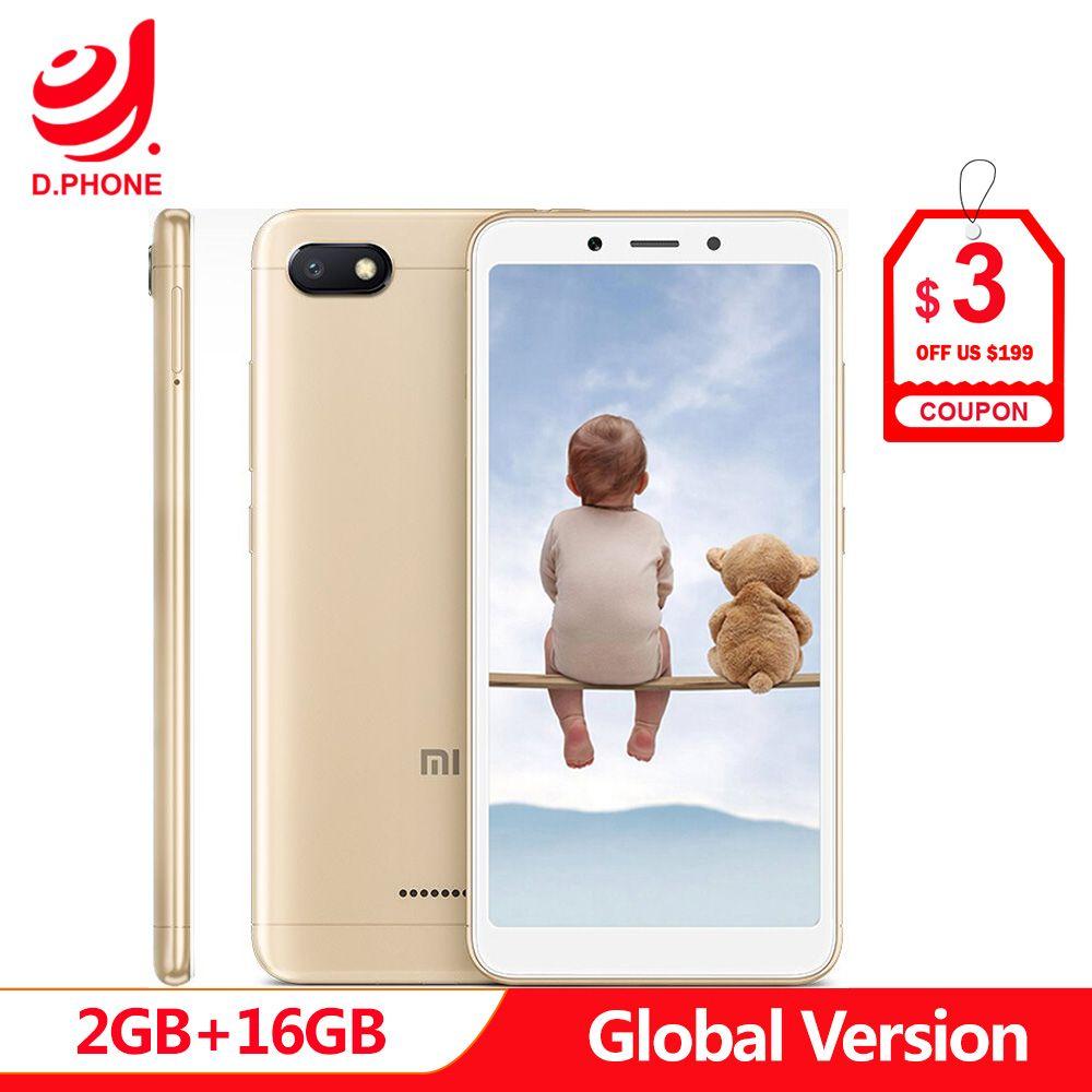 En Stock Original Version mondiale Xiaomi Redmi 6A 2 GB 16 GB 5.45 18:9 plein écran MTK Helio A22 Quad Core 13MP caméra téléphone portable