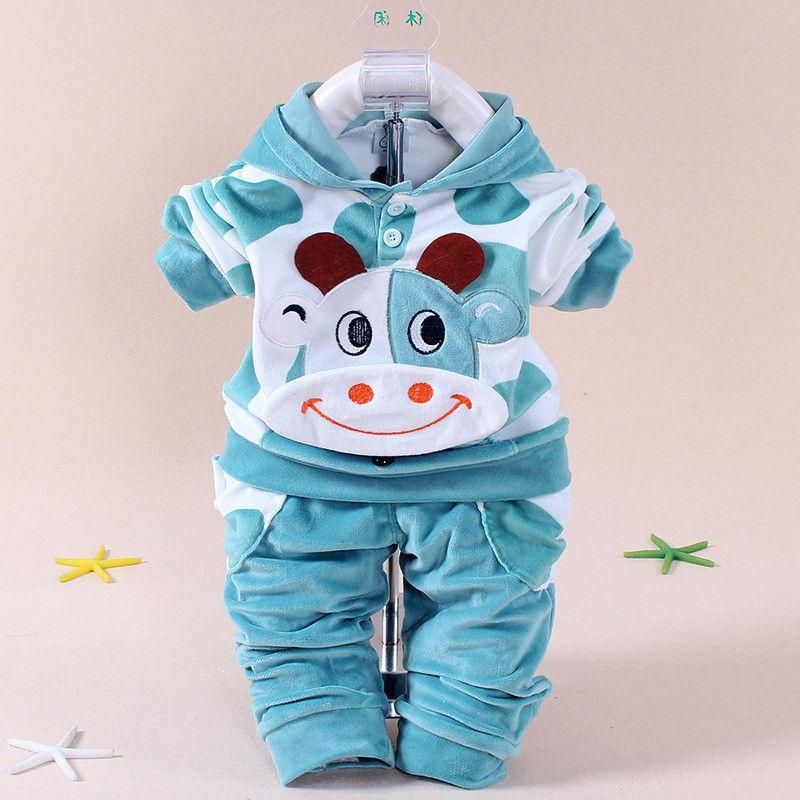YZXY 2016 bébé filles vêtements dessin animé Kitty lapin vache nouveau-né garçon marque velours Hooide + pantalon Twinset enfants infantile Sport costume