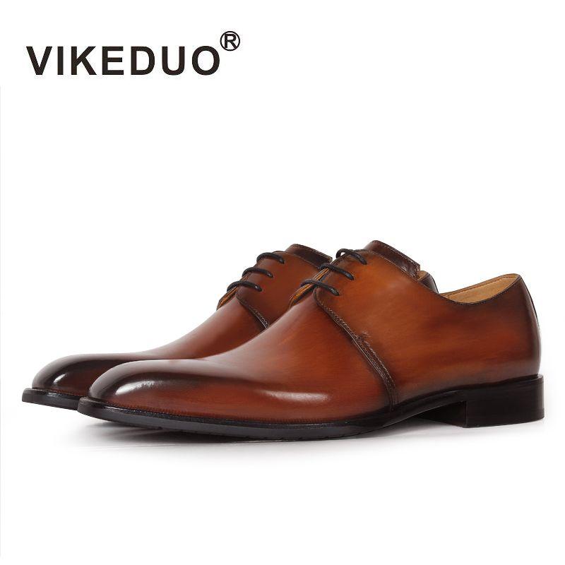 Vikeduo 2019 Handgemachte Designer Luxus Mode Casual Hochzeit Marke Freizeit Männlichen Kleid Echtes Leder Herren Derby Schuhe