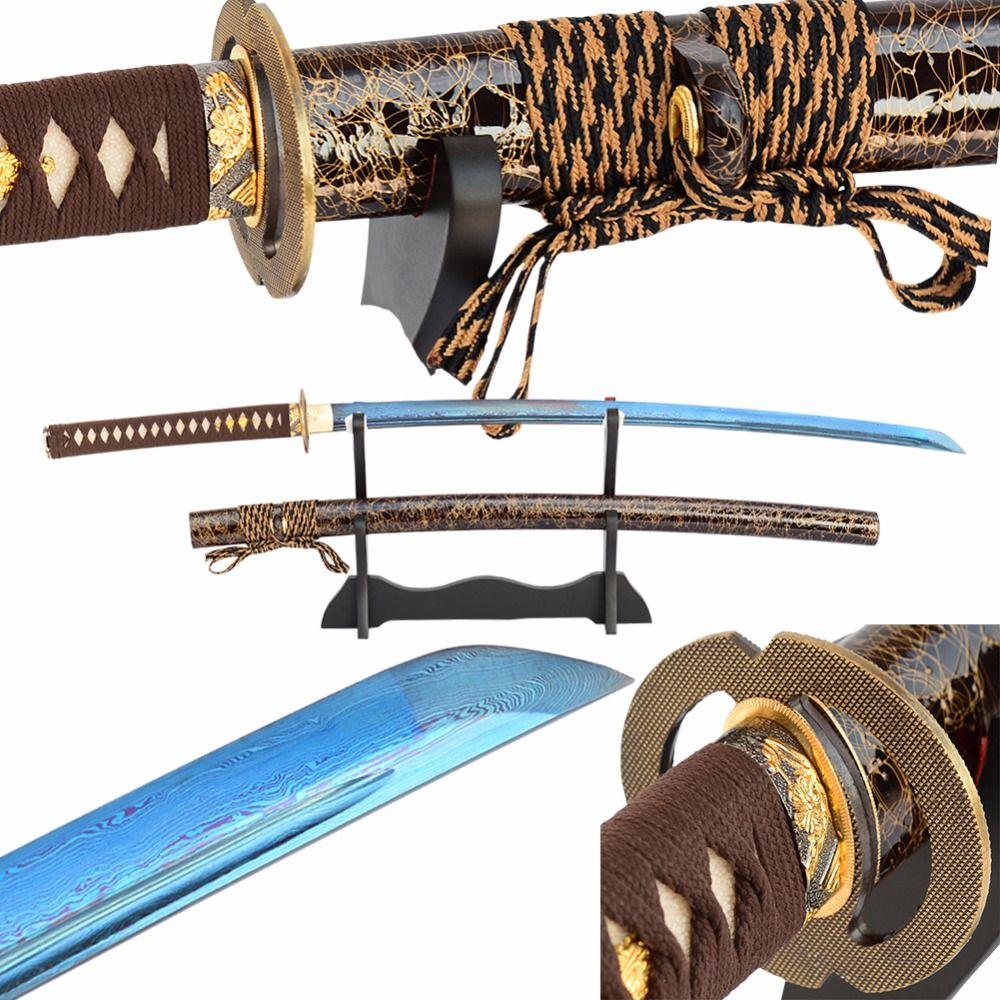 Brandon Schwerter Damaskus Japanse Schwert Gefaltet Stahl Blau Full Tang Klinge Hand Geschmiedet Sharp Samurai Katana Vintage Metall Hause Dezember