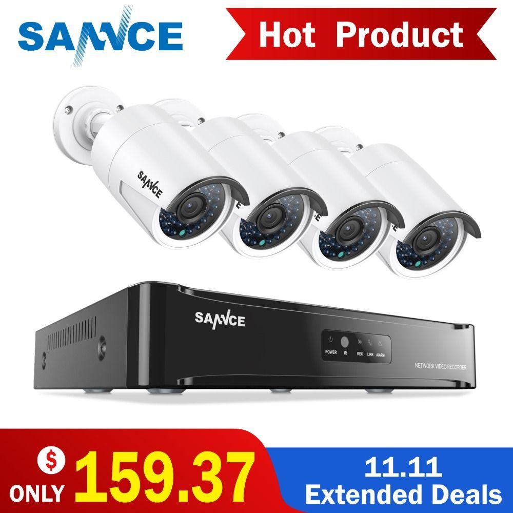 SANNCE PoE CCTV NVR kit 4CH 1080 p POE CCTV Système HD 2.0MP Vidéo caméra de Sécurité infrarouge extérieure 1080 p système de Surveillance Kits