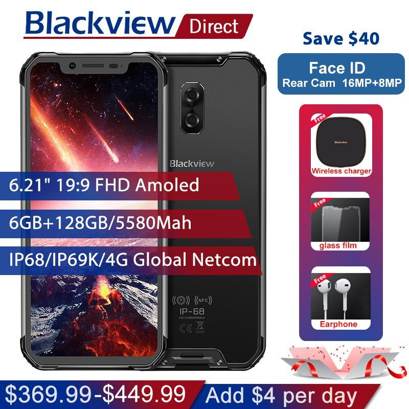 Blackview BV9600 Pro IP68 Wasserdichte Handy 6g + 128 gb Helio P60 6,21 19:9 AMOLED 5580 mah NFC Android 8.1 Robuste Smartphone