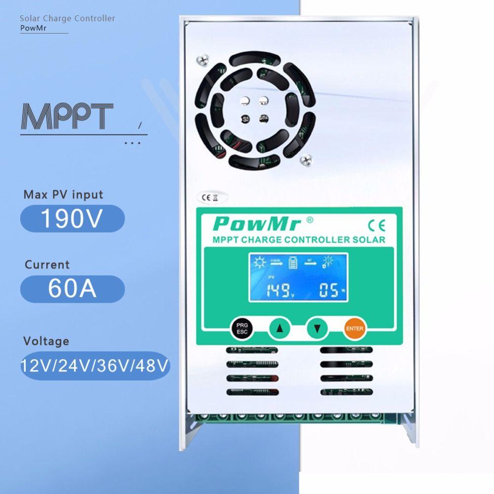 MPPT 60A LCD Display Solar Charge Controller 12V 24V 36V 48V Auto Solar Panel Battery Charge Regulator for Max 190V DC Input