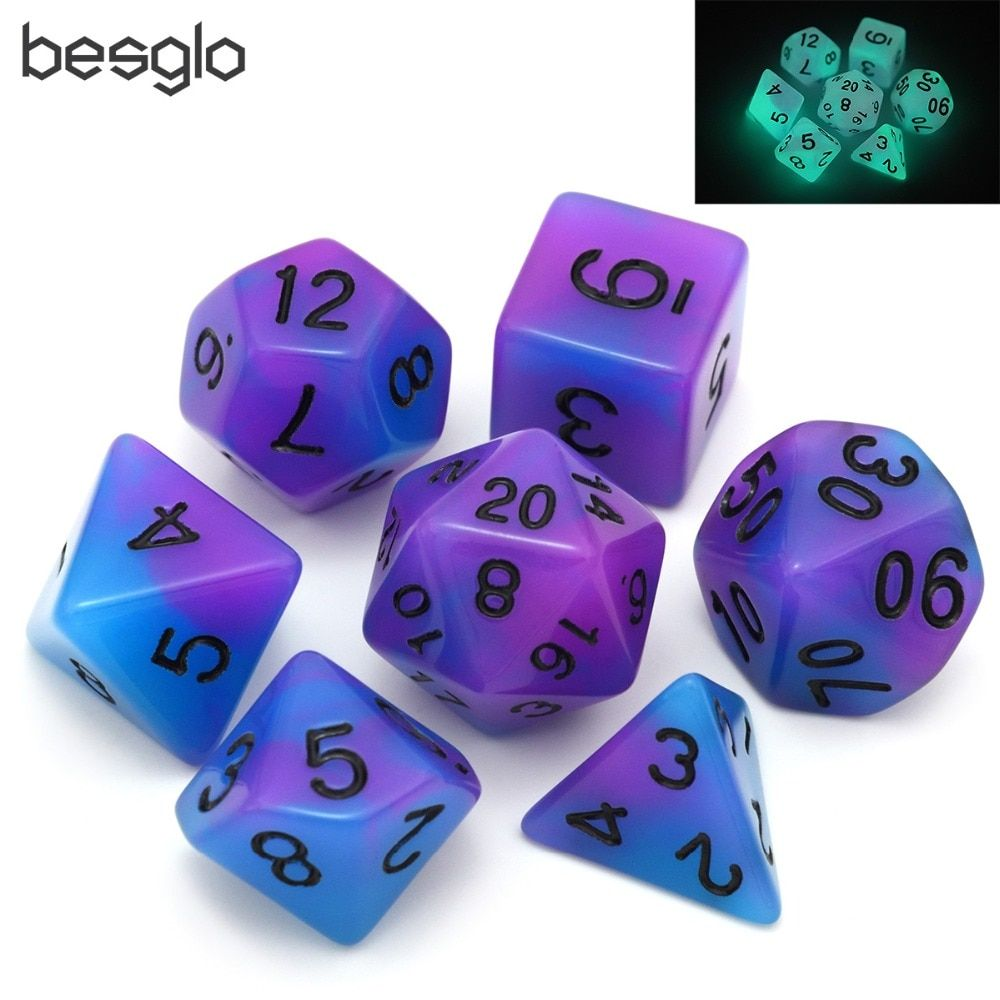 Purple&Blue Double Color Glow in the Dark Dice Set for RPG DnD MTG Board Games