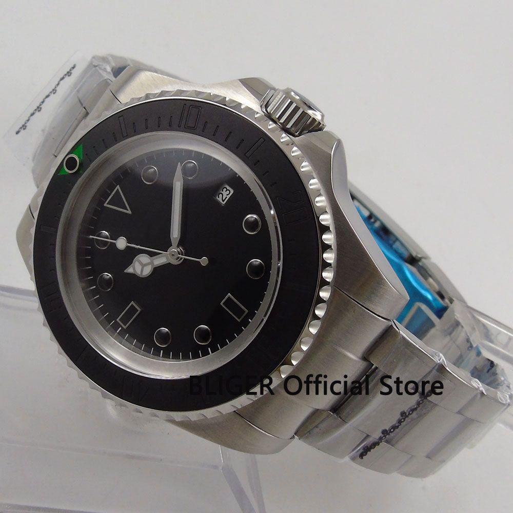 BLIGER 44MM Luxury Black Sterile Dial Ceramic Bezel Kol Saati Luminous Marks MIYOTA Automatic Movement Men's Wrist Watch B159