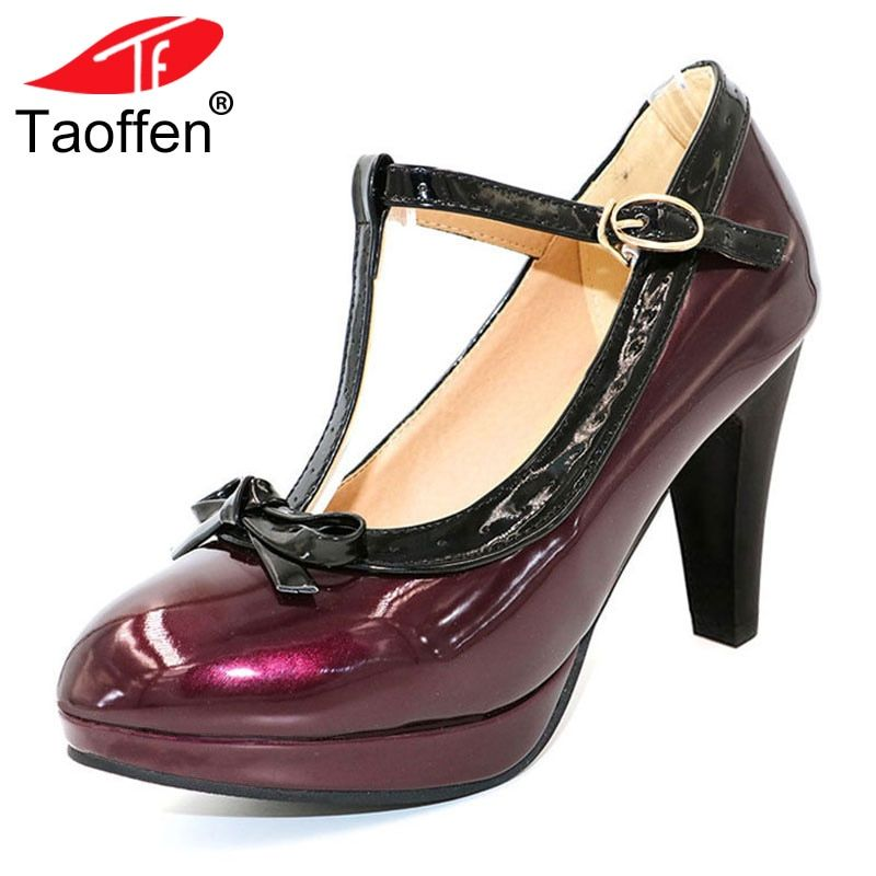 TAOFFEN Size 32-48 Women High Heel Shoes Women Sexy Pumps T Strap Summer Mature Shoes Party Lady Wedding Heeled Shoes Footwear