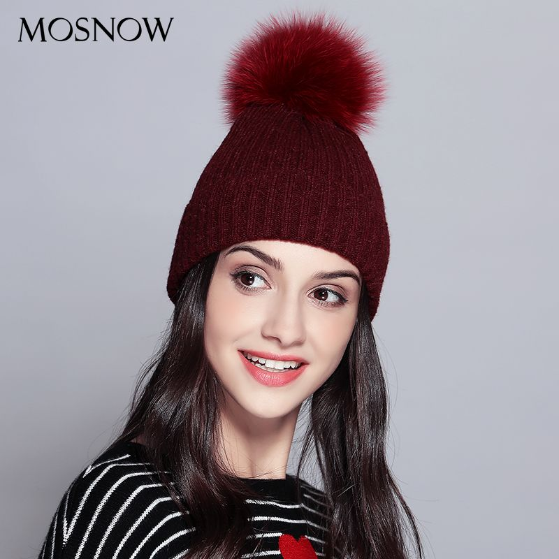 MOSNOW Winter Hats For Women Solid Pink Wool Hats Knitted Fox Fur Pompoms Beanies New 2017 High Quality Bonnet Skullies  #MZ733