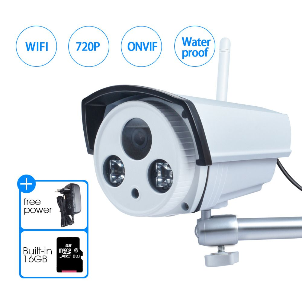 JOOAN Wireless IP Camera 1-Megapixel Audio Recording 720P Wireless Security Outdoor Bullet Built-in 16GB SD Card Wifi Camera
